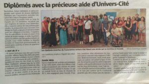 Article de Var matin, remise des diplômes 2015