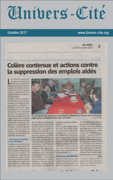 Article de journal du 16 Octobre 2017