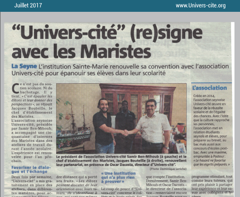 Article de journal du 20 juillet 2017