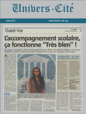 Article de journal du 23 Aout 2017