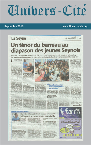 Article de journal du 24 septembre 2018