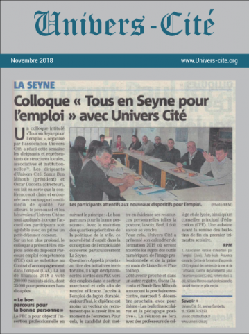Article de journal du 30 novembre 2018