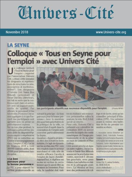 Article de journal du 30 novembre 2018